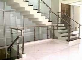 Nerimah pembuatan reling tangga stanlis kaca berkualitas @2800