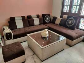 6 seater sofa with table.