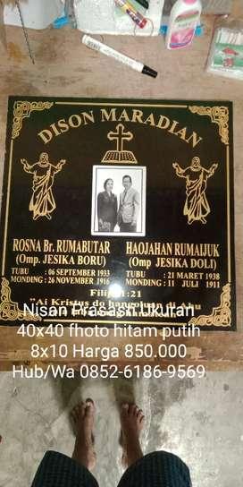 Nisan Prasasti Ukuran 40x40 fhoto hitam putih petak 850.000 cat Asli