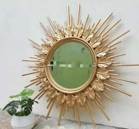 Pigura cermin bundar kayu jati 13