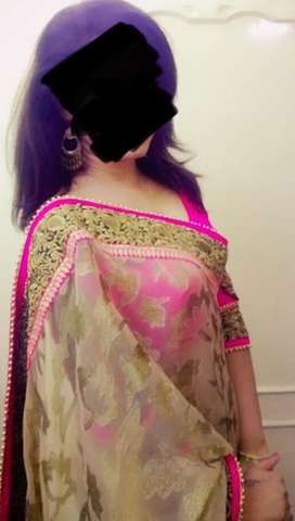 Party saree with bangles and accessories
