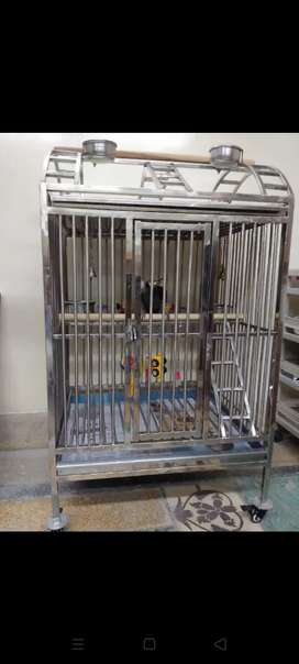 Bird Cage with two trays and wheels
