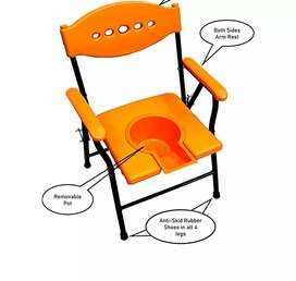 New Bathing Commode Chair Orange Color with Comfortable Arm Rest