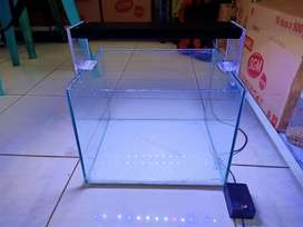 Aquarium aquascape beserta lampu HPL 18 watt