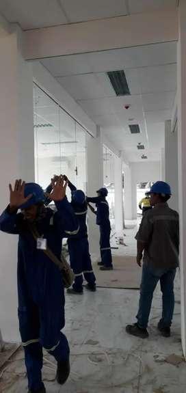 Renovasi plafon, penyekat ruangan, penyekat kaca, partisi gypsum