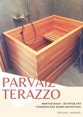 Bathtub Kayu Jati Parvaiz Terazzo Handmade