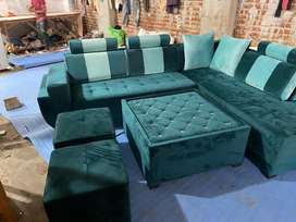 Global furniutre new desgner l  sofa set with one tble nd 2puffes mor