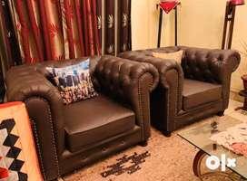 New British Chesterfield Leather Sofa Set 2x1x1