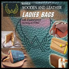 Wings Leadies wooden and leather pure bags