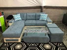 sofa paket model L sambung bergaransi
