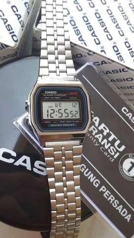 Jam Tangan Pria Wanita Casio A159W Original Bergaransi