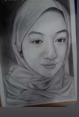 Lukisan foto, gambaran sketsa ukir wajah