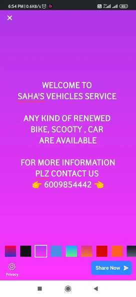 Any kind of car , bikes are sold