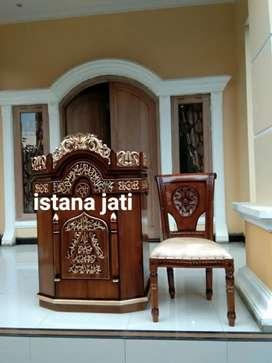 Jual mimbar masjid sama kursi kayu jati