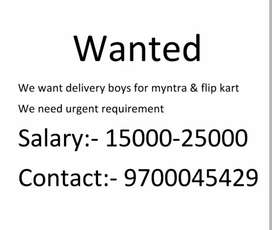 WANTED Myntra delivery boys we need urjent