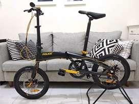Sepeda lipat Seli Police Milan Hitam gold 20 inci Baru Murah