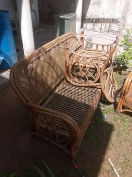 Cane Sofa set with centre table and cushons