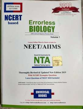Errorless Biology Volume 1 and Volume 2 for class 11 and 12 (2019)