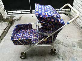 Baby Pram- Floral print, Blue color