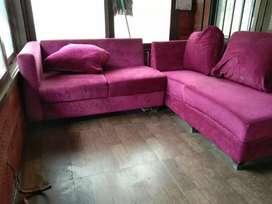 Pink Sofa with 3 Pillows