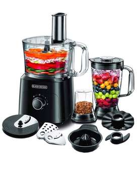 Black+Decker 750W 5-in-1 34 Function Food Processor, Black - FX775-B5
