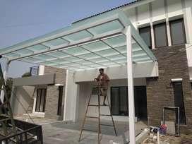 kanopy mewah atap kaca tiang gawang