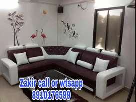 Brown and white corner Sofa at factory outlet price