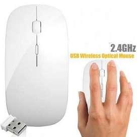 Mouse PC Wireless Mouse Slim Wifi 4D USB Optical White Putih