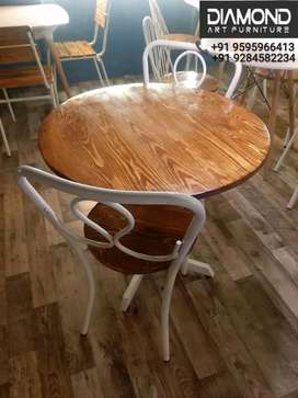 NEW CAFE HOTEL RESTAURANT ROUND PINEWOOD TABLE CHAIRS SET (FACTORY)