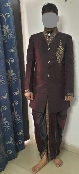 Partywear Indo-western dress in Maroon colour