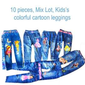 10 pieces Mix Lot, Kid's Colorful Cartoon Leggings Stretchy Pants