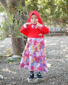 gamis muslim anak branded - baju muslim anak motif floral - maureen