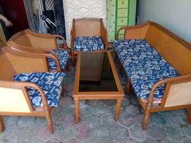 Sofa Kursi KAYU Jati Asli + Meja/Ruang keluarga/Tamu/Antik/unik/Free