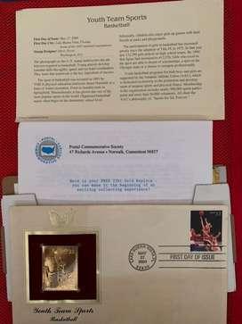 Perangko Emas edisi Basket Ball, 22kt Gold Replica