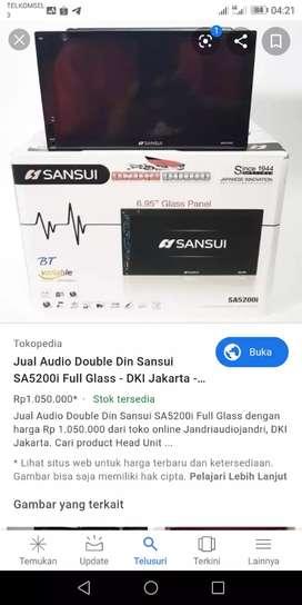 Double din sansui fullglass tanpa tombol tv, dvd,bluetotch, mirrorlink
