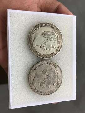 Koin Kuno Willem 1818 2 Setengah Gulden Edisi Khusus Samping Bergerigi