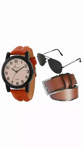 Belt, watch,  chasma combo