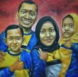 Lukisan keluarga bahan kanvas oil painting
