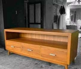 Meja Tv minimalis retro laci 3 moderen, P.150cm, bahan kayi jati trbik
