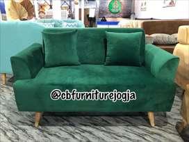 Sofa modern gaya terkini, ready kain bludru