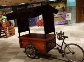 Gerobak Sepeda Becak Keliling dari Kayu Jati Belanda
