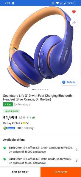Soundcore life Q10 with fast charging blue,and, Orange