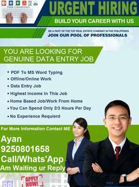 Home Based' Data Typing Work ' Earn Upto 23000/-