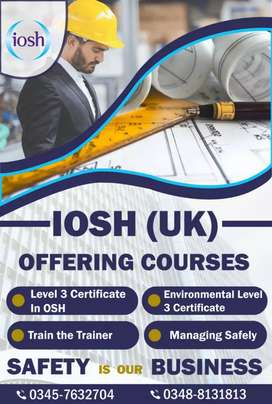 IOSH (UK) Offering COurses admission are open