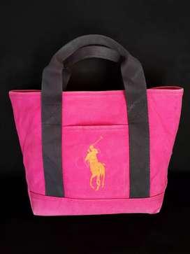 Tas import eks RALPH LAUREN tote handbag pink kanvas tebal