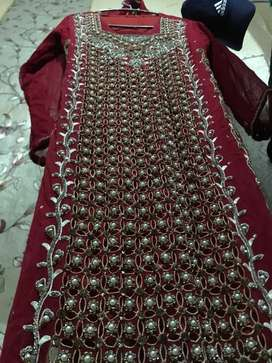 Red fenci hand made work at party & shadi suit