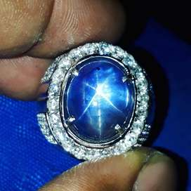Natural blue sapphire star srilanka 14crt gold diamond