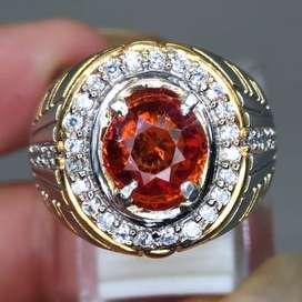 Batu Cincin Orange Garnet Ceylon Srilangka Asli