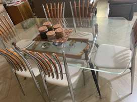 Six seater dining table set.
