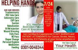 Male-Female STAFF NURSES Available For Home Nursing Care Anywhere Lhr.